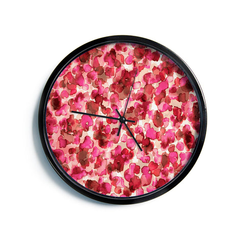 "Ebi Emporium ""WILD THING, RED PINK"" Red Pink Animal Print Abstract Watercolor Mixed Media Modern Wall Clock"