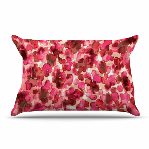 "Ebi Emporium ""WILD THING, RED PINK"" Red Pink Animal Print Abstract Watercolor Mixed Media Pillow Sham"