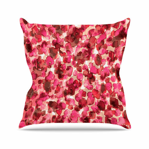 "Ebi Emporium ""WILD THING, RED PINK"" Red Pink Animal Print Abstract Watercolor Mixed Media Throw Pillow"