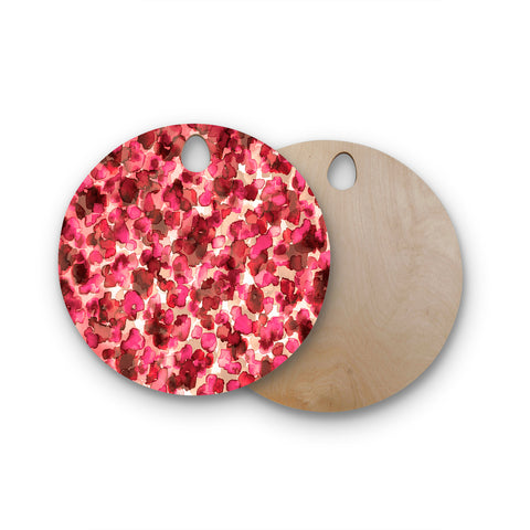 "Ebi Emporium ""WILD THING, RED PINK"" Red Pink Animal Print Abstract Watercolor Mixed Media Round Wooden Cutting Board"