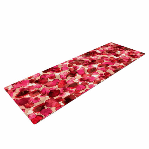"Ebi Emporium ""WILD THING, RED PINK"" Red Pink Animal Print Abstract Watercolor Mixed Media Yoga Mat"