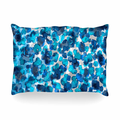 "Ebi Emporium ""WILD THING, TRUE BLUE"" Blue Gray Animal Print Abstract Watercolor Mixed Media Oblong Pillow"