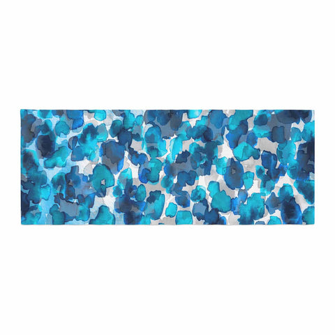 "Ebi Emporium ""WILD THING, TRUE BLUE"" Blue Gray Animal Print Abstract Watercolor Mixed Media Bed Runner"