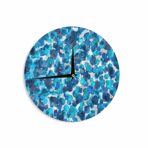 "Ebi Emporium ""WILD THING, TRUE BLUE"" Blue Gray Animal Print Abstract Watercolor Mixed Media Wall Clock"