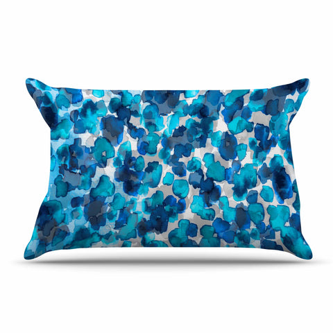 "Ebi Emporium ""WILD THING, TRUE BLUE"" Blue Gray Animal Print Abstract Watercolor Mixed Media Pillow Sham"