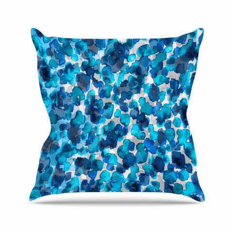 "Ebi Emporium ""WILD THING, TRUE BLUE"" Blue Gray Animal Print Abstract Watercolor Mixed Media Outdoor Throw Pillow"