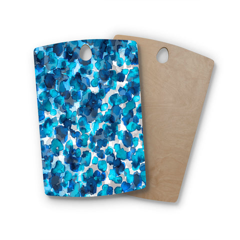 "Ebi Emporium ""WILD THING, TRUE BLUE"" Blue Gray Animal Print Abstract Watercolor Mixed Media Rectangle Wooden Cutting Board"
