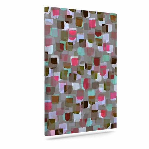 "Ebi Emporium ""SEEING SPOTS 4"" Multicolor Magenta Polkadot Pattern Watercolor Mixed Media Art Canvas"