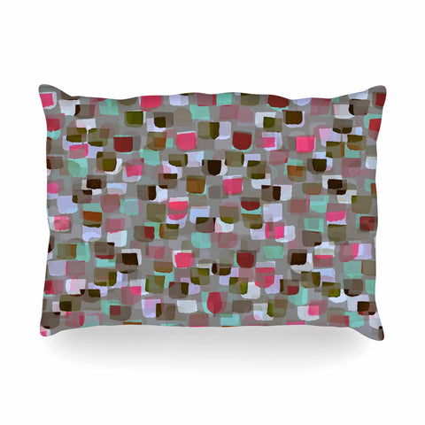 "Ebi Emporium ""SEEING SPOTS 4"" Multicolor Magenta Polkadot Pattern Watercolor Mixed Media Oblong Pillow"