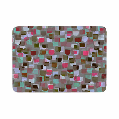 "Ebi Emporium ""SEEING SPOTS 4"" Multicolor Magenta Polkadot Pattern Watercolor Mixed Media Memory Foam Bath Mat"