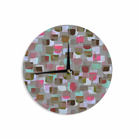 "Ebi Emporium ""SEEING SPOTS 4"" Multicolor Magenta Polkadot Pattern Watercolor Mixed Media Wall Clock"