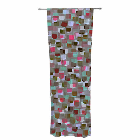"Ebi Emporium ""SEEING SPOTS 4"" Multicolor Magenta Polkadot Pattern Watercolor Mixed Media Decorative Sheer Curtain"