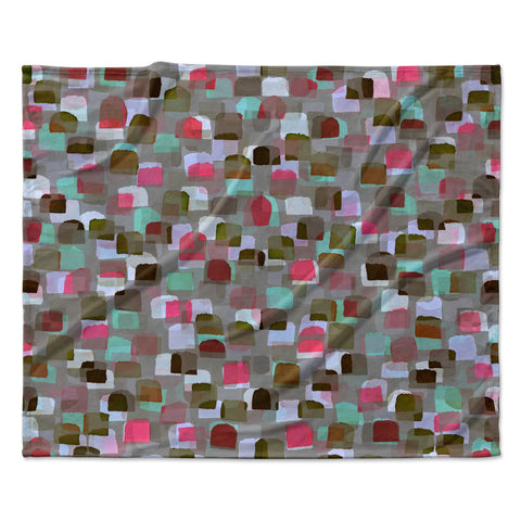 "Ebi Emporium ""SEEING SPOTS 4"" Multicolor Magenta Polkadot Pattern Watercolor Mixed Media Fleece Throw Blanket"