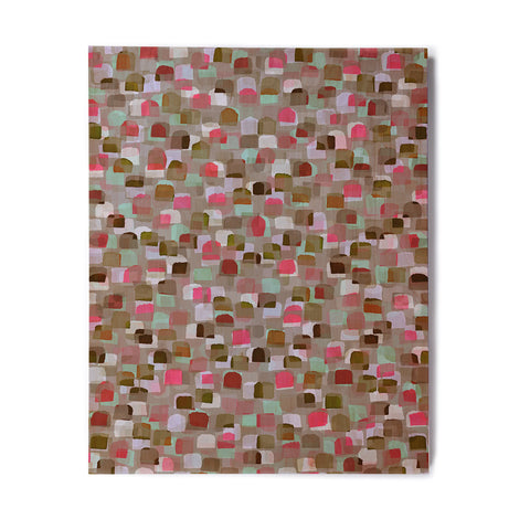 "Ebi Emporium ""SEEING SPOTS 4"" Multicolor Magenta Polkadot Pattern Watercolor Mixed Media Birchwood Wall Art"