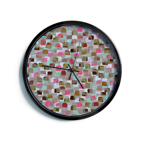 "Ebi Emporium ""SEEING SPOTS 4"" Multicolor Magenta Polkadot Pattern Watercolor Mixed Media Modern Wall Clock"