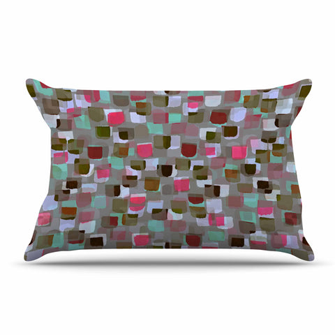 "Ebi Emporium ""SEEING SPOTS 4"" Multicolor Magenta Polkadot Pattern Watercolor Mixed Media Pillow Sham"