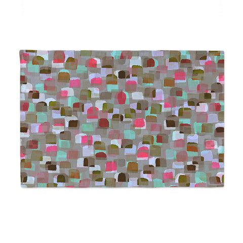"Ebi Emporium ""SEEING SPOTS 4"" Multicolor Magenta Polkadot Pattern Watercolor Mixed Media Place Mat"