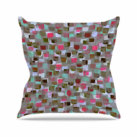 "Ebi Emporium ""SEEING SPOTS 4"" Multicolor Magenta Polkadot Pattern Watercolor Mixed Media Outdoor Throw Pillow"