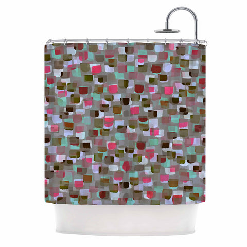 "Ebi Emporium ""SEEING SPOTS 4"" Multicolor Magenta Polkadot Pattern Watercolor Mixed Media Shower Curtain"