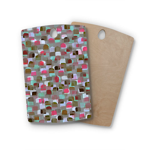 "Ebi Emporium ""SEEING SPOTS 4"" Multicolor Magenta Polkadot Pattern Watercolor Mixed Media Rectangle Wooden Cutting Board"