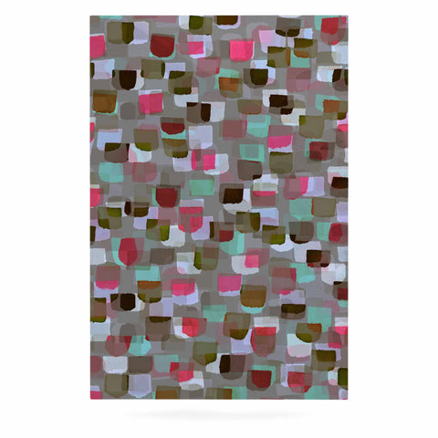 "Ebi Emporium ""SEEING SPOTS 4"" Multicolor Magenta Polkadot Pattern Watercolor Mixed Media Luxe Rectangle Panel"