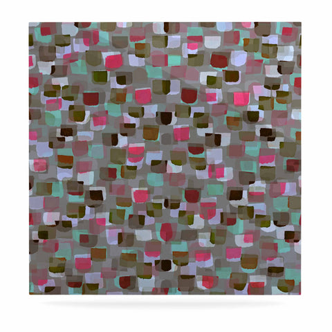 "Ebi Emporium ""SEEING SPOTS 4"" Multicolor Magenta Polkadot Pattern Watercolor Mixed Media Luxe Square Panel"