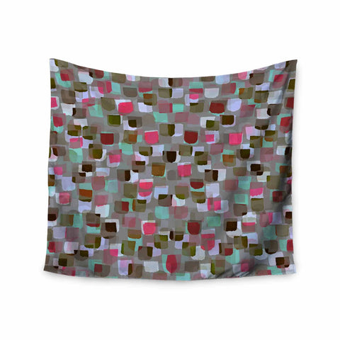 "Ebi Emporium ""SEEING SPOTS 4"" Multicolor Magenta Polkadot Pattern Watercolor Mixed Media Wall Tapestry"