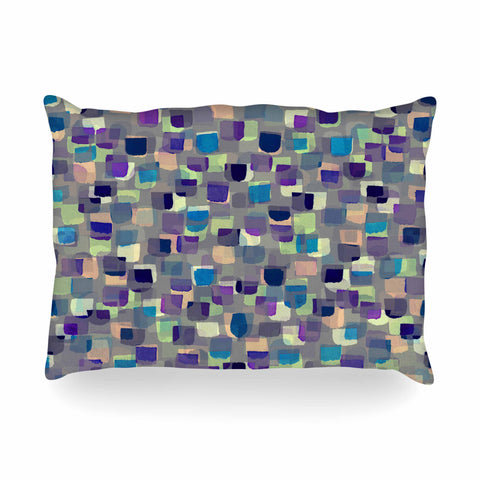 "Ebi Emporium ""SEEING SPOTS 1"" Multicolor Purple Polkadot Pattern Watercolor Mixed Media Oblong Pillow"