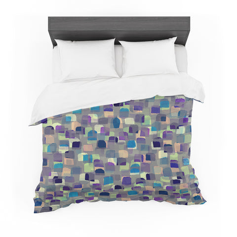 "Ebi Emporium ""SEEING SPOTS 1"" Multicolor Purple Polkadot Pattern Watercolor Mixed Media Featherweight Duvet Cover"