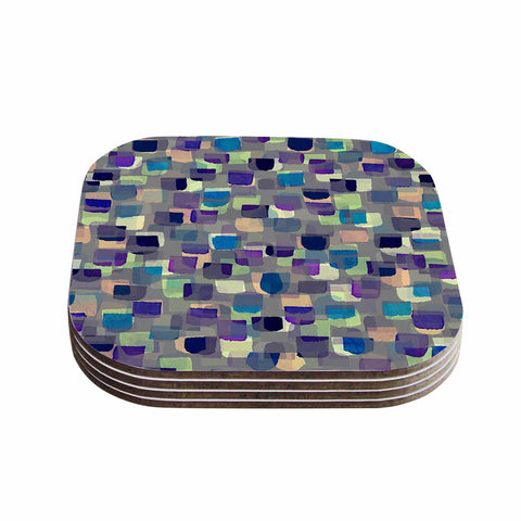 "Ebi Emporium ""SEEING SPOTS 1"" Multicolor Purple Polkadot Pattern Watercolor Mixed Media Coasters (Set of 4)"