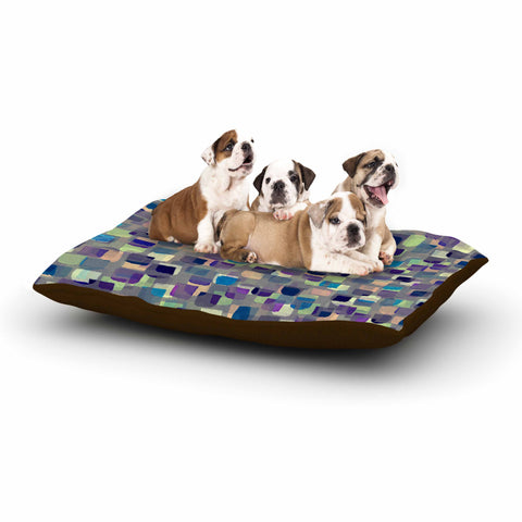 "Ebi Emporium ""SEEING SPOTS 1"" Multicolor Purple Polkadot Pattern Watercolor Mixed Media Dog Bed"