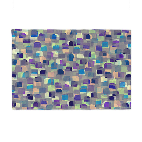 "Ebi Emporium ""SEEING SPOTS 1"" Multicolor Purple Polkadot Pattern Watercolor Mixed Media Place Mat"