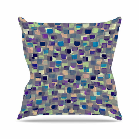 "Ebi Emporium ""SEEING SPOTS 1"" Multicolor Purple Polkadot Pattern Watercolor Mixed Media Outdoor Throw Pillow"