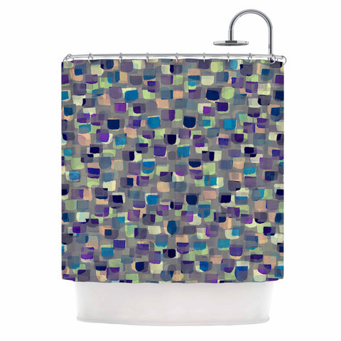 "Ebi Emporium ""SEEING SPOTS 1"" Multicolor Purple Polkadot Pattern Watercolor Mixed Media Shower Curtain"