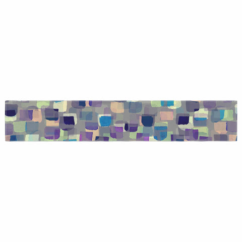 "Ebi Emporium ""SEEING SPOTS 1"" Multicolor Purple Polkadot Pattern Watercolor Mixed Media Table Runner"