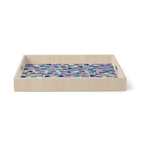 "Ebi Emporium ""SEEING SPOTS 1"" Multicolor Purple Polkadot Pattern Watercolor Mixed Media Birchwood Tray"