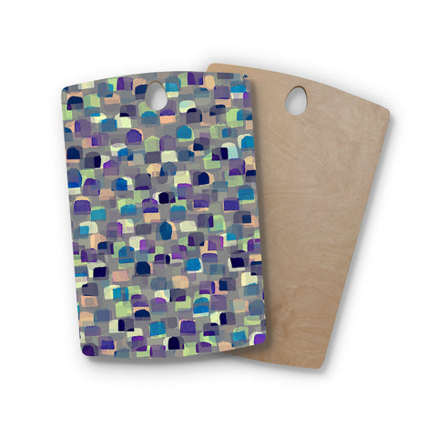 "Ebi Emporium ""SEEING SPOTS 1"" Multicolor Purple Polkadot Pattern Watercolor Mixed Media Rectangle Wooden Cutting Board"