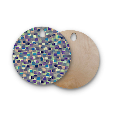 "Ebi Emporium ""SEEING SPOTS 1"" Multicolor Purple Polkadot Pattern Watercolor Mixed Media Round Wooden Cutting Board"