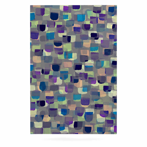 "Ebi Emporium ""SEEING SPOTS 1"" Multicolor Purple Polkadot Pattern Watercolor Mixed Media Luxe Rectangle Panel"