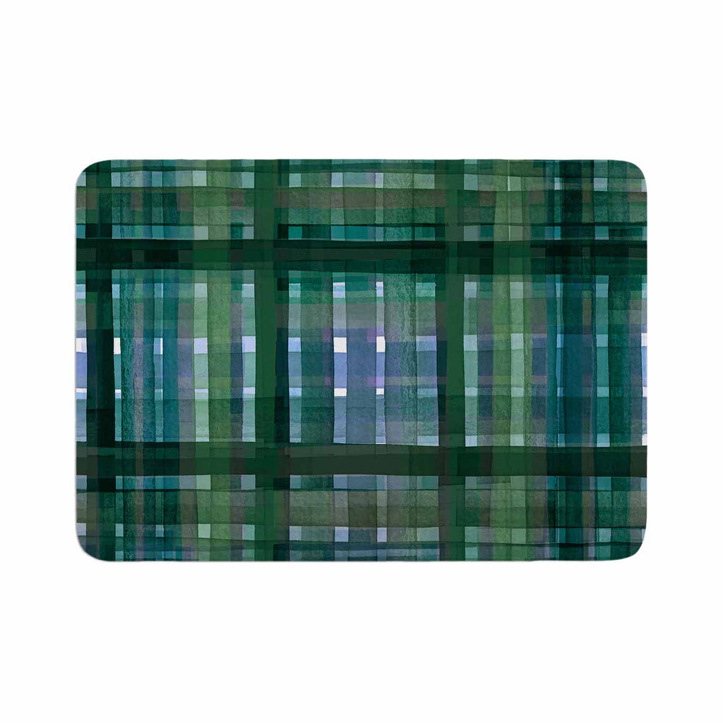 "Ebi Emporium ""PLAID FOR YOU, GREEN BLUE"" Green Blue Stripes Pattern Mixed Media Painting Memory Foam Bath Mat"