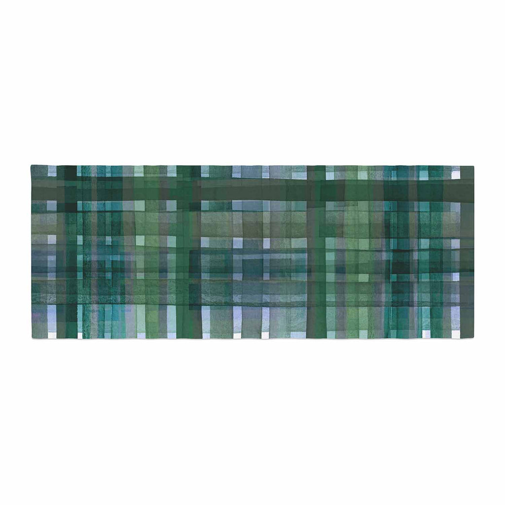 "Ebi Emporium ""PLAID FOR YOU, GREEN BLUE"" Green Blue Stripes Pattern Mixed Media Painting Bed Runner"