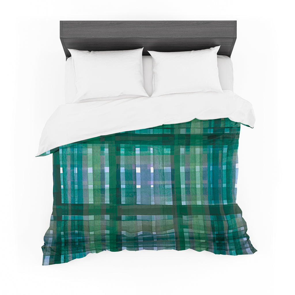 "Ebi Emporium ""PLAID FOR YOU, GREEN BLUE"" Green Blue Stripes Pattern Mixed Media Painting Featherweight Duvet Cover"