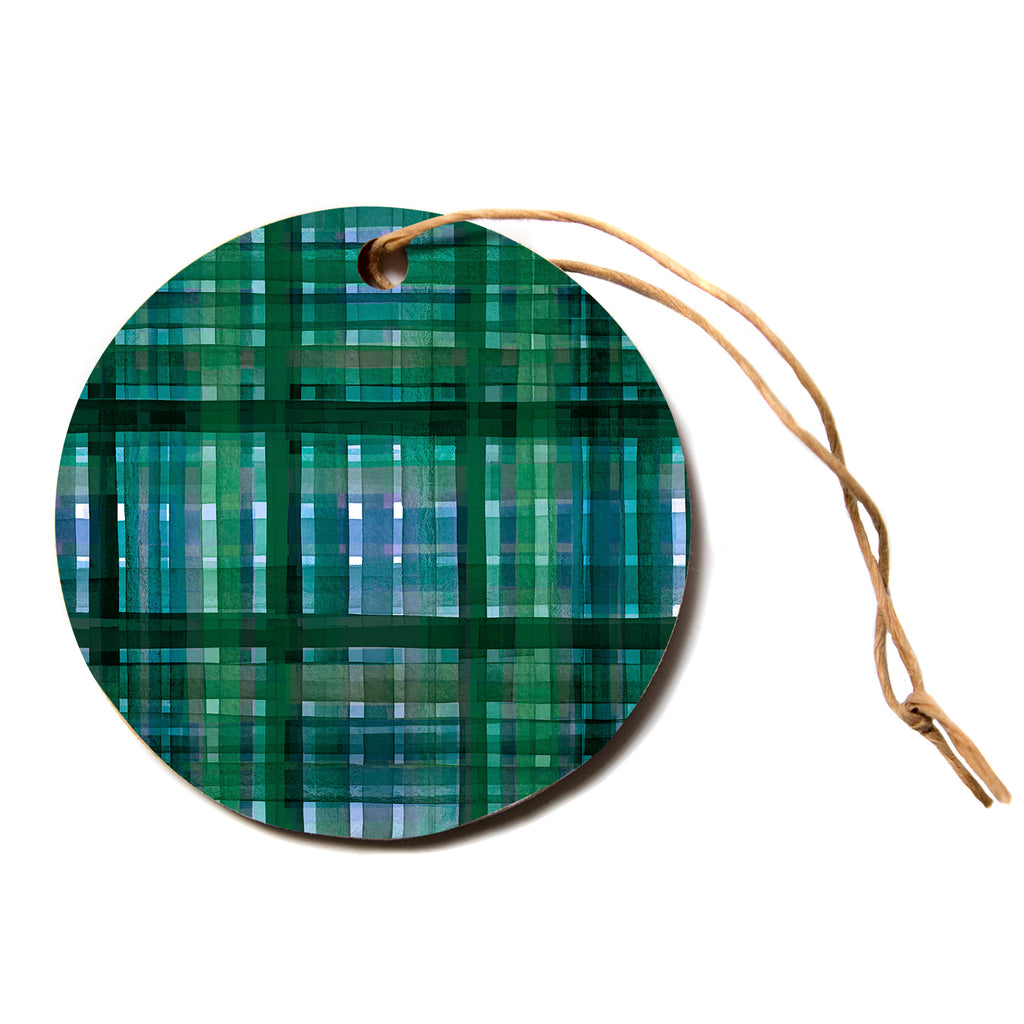 "Ebi Emporium ""PLAID FOR YOU, GREEN BLUE"" Green Blue Stripes Pattern Mixed Media Painting Circle Holiday Ornament"