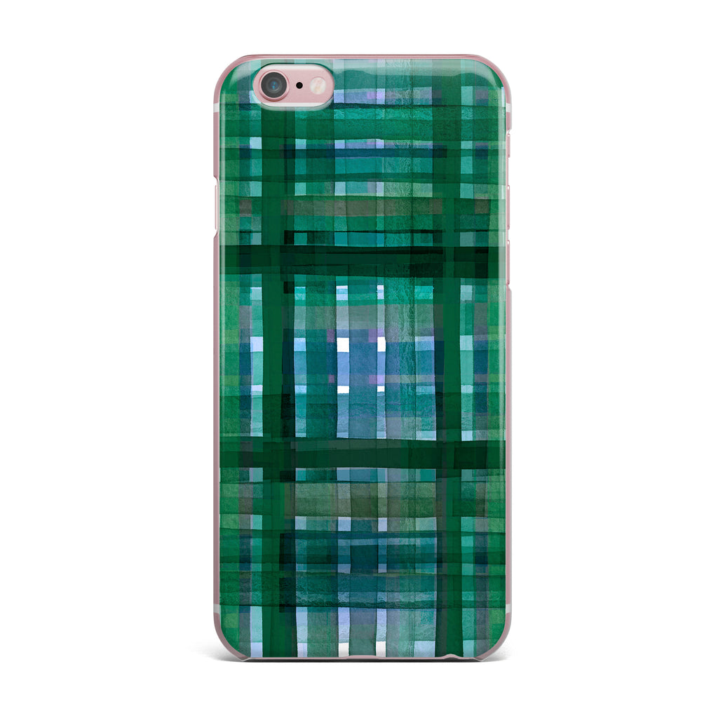 "Ebi Emporium ""PLAID FOR YOU, GREEN BLUE"" Green Blue Stripes Pattern Mixed Media Painting iPhone Case"