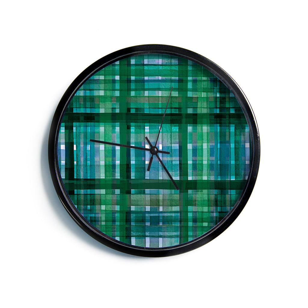 "Ebi Emporium ""PLAID FOR YOU, GREEN BLUE"" Green Blue Stripes Pattern Mixed Media Painting Modern Wall Clock"