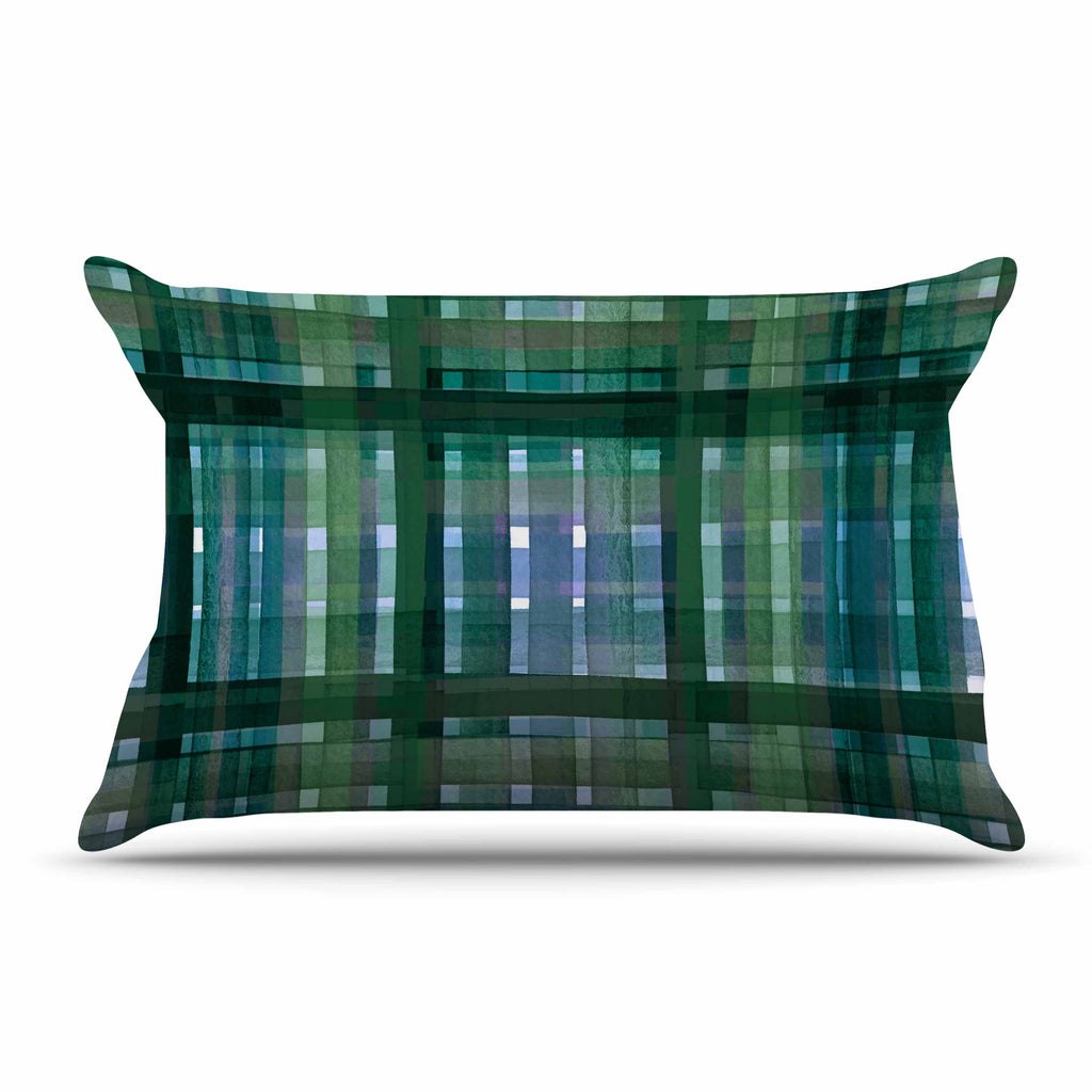 "Ebi Emporium ""PLAID FOR YOU, GREEN BLUE"" Green Blue Stripes Pattern Mixed Media Painting Pillow Sham"