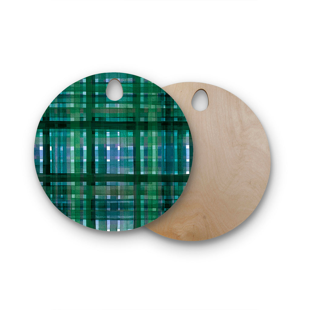 "Ebi Emporium ""PLAID FOR YOU, GREEN BLUE"" Green Blue Stripes Pattern Mixed Media Painting Round Wooden Cutting Board"