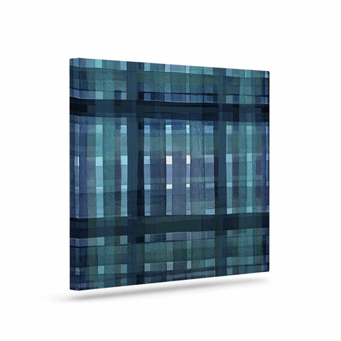 "Ebi Emporium ""PLAID FOR YOU, TEAL BLUE"" Blue Teal Stripes Pattern Mixed Media Painting Art Canvas"