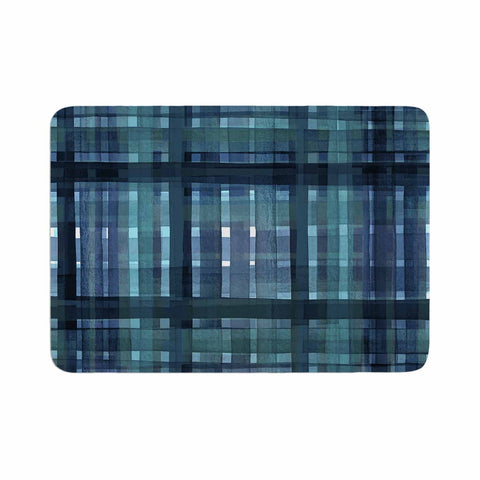 "Ebi Emporium ""PLAID FOR YOU, TEAL BLUE"" Blue Teal Stripes Pattern Mixed Media Painting Memory Foam Bath Mat"