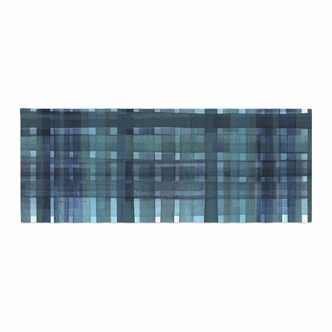 "Ebi Emporium ""PLAID FOR YOU, TEAL BLUE"" Blue Teal Stripes Pattern Mixed Media Painting Bed Runner"